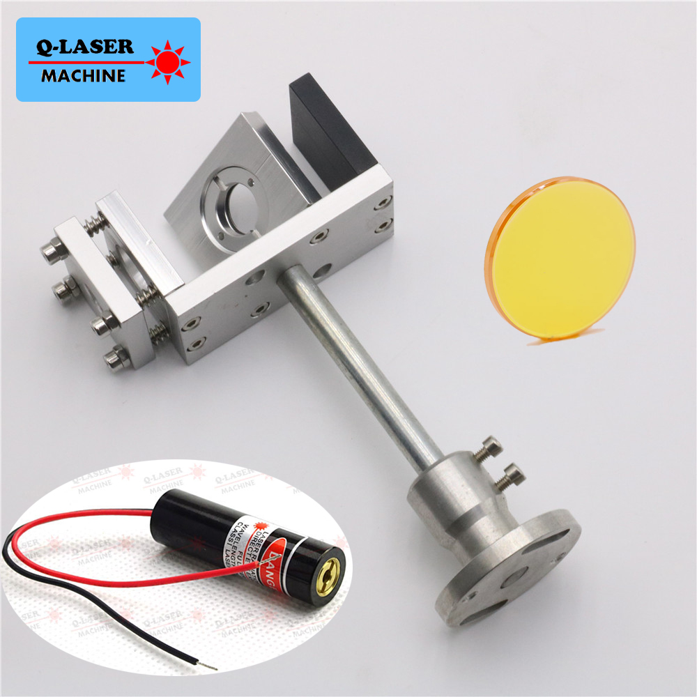 Whole Set 20mm Co2 Laser Beam Combiner with Mount and Laser Pointer For Laser Engraving Cutting Free Shipping economic al case of 1064nm fiber laser machine parts for laser machine beam combiner mirror mount light path system