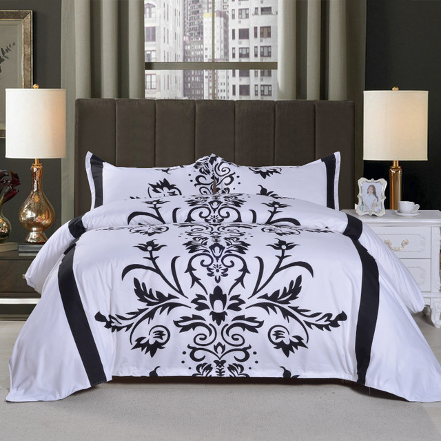 Brief White Black Floral Printing Bedding Sets Queen 3pcs 228x228cm