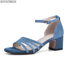 ea3c10b406d Women suede Leather High Heels Sandals Summer Open Toe Sandals Office Daily  Shoes Woman black blue