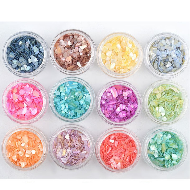 12Pc Natural Colorful Pearl Light Nail SeaShell Slices Particle Crushed Shell Manicure Set Thin Nail Art Glitter Decoration Tool in Rhinestones Decorations from Beauty Health