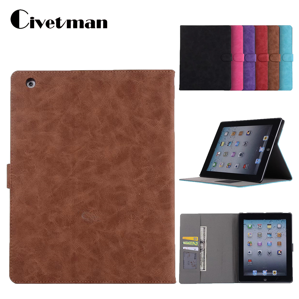 Luxury PU Leather Book Case for Apple ipad 2 ipad 3 ipad 4 Tablets Accessories Stand Wallet Cover Pouch for ipad 2 3 4 9.7inch