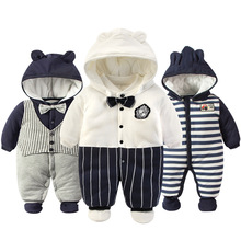 цены 2017 Newborn Rompers Winter cotton Thick Warm Baby boy girl Clothes bebes Long Sleeve Hooded Jumpsuit Kids Outwear for 0-24M