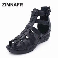 Женские босоножки из натуральной кожи 2017 летние туфли на танкетке удобные мама повседневные Черные сандалии с открытым носком