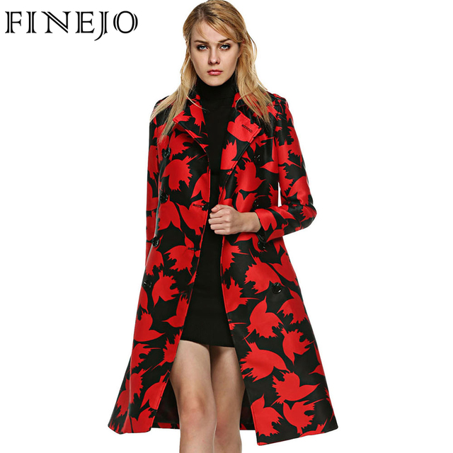 FINEJO Stylish Women Long Trench Coat Double Breasted Print Wind Coat Turn-down Collar  Windbreaker with Belt Abrigos Mujer