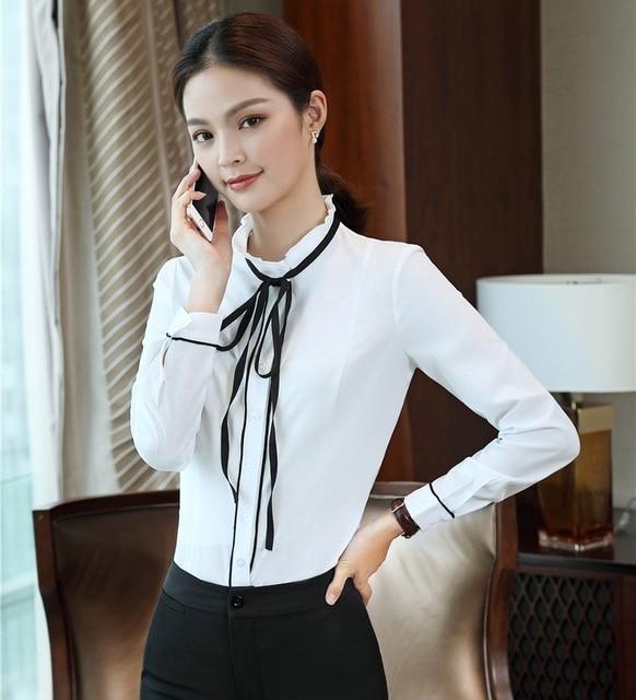 3827c8307 € 17.04 |Moda Formal señoras blusas blancas mujeres Camisas manga larga  elegante Oficina uniforme blusas y Tops OL estilo en Blusas y camisas de ...