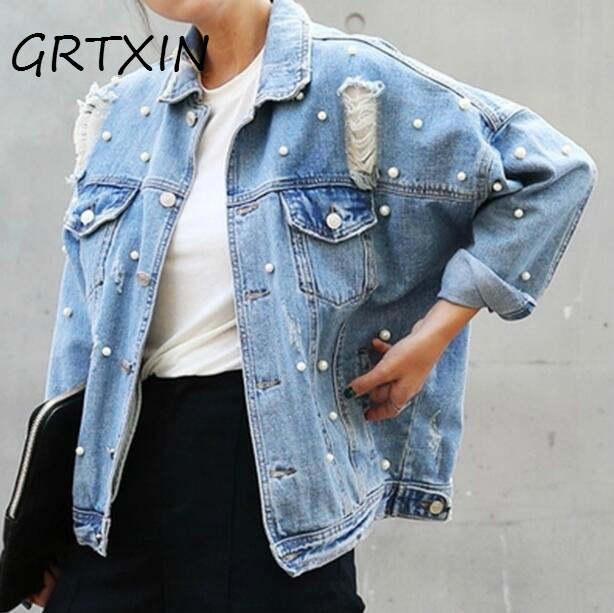 Pearls Jacket Single Jean Autumn And Coats Jeans Ripped Breasted Vintage Plus Blue Size Jackets Denim Casual Women Beading Jaqueta 1qwrgt1f