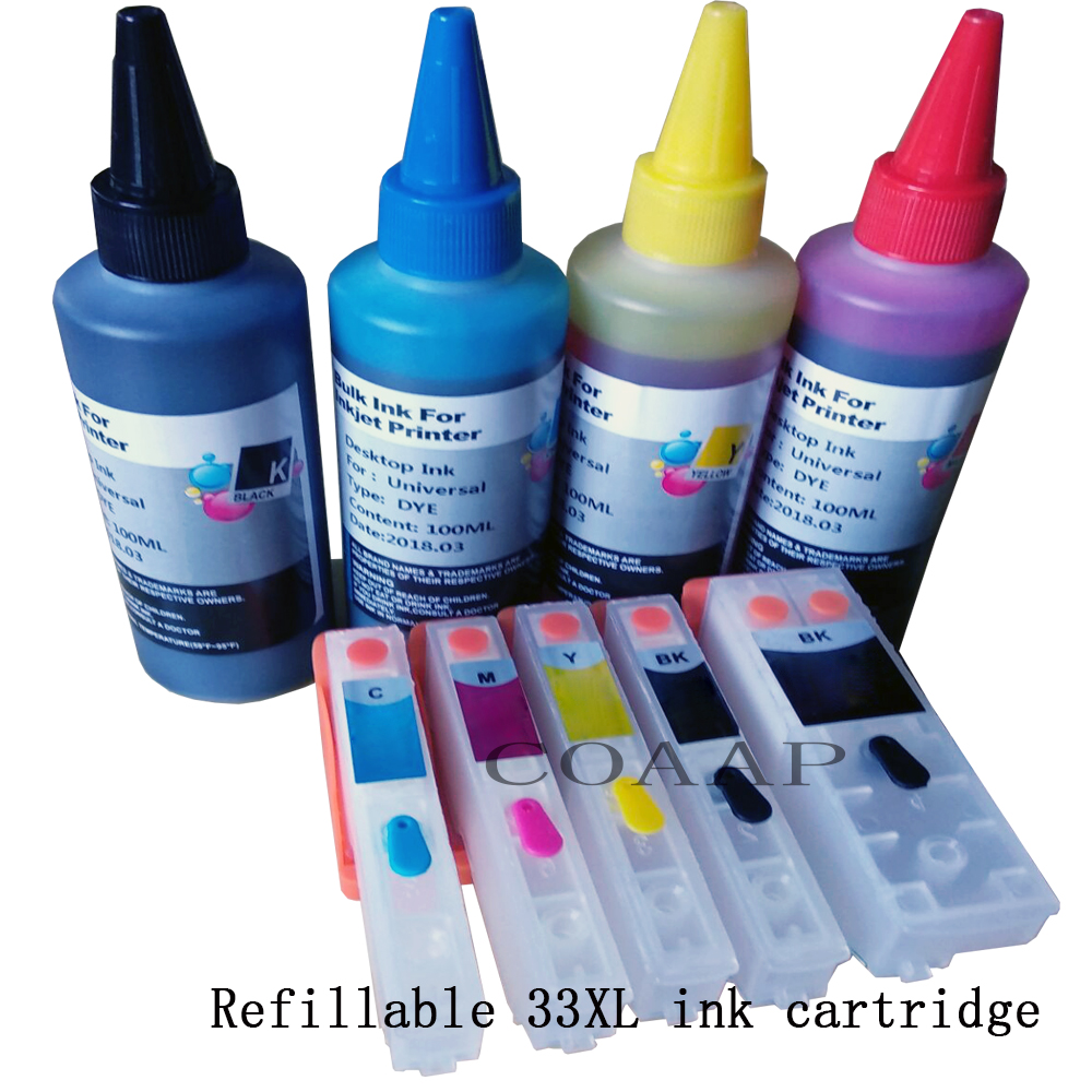 New Refillable ink cartridge for EPSON 33XL Expression Premium XP 530 540 630 640 635 645 830 900 Printer + 400ML ink ciss bulk refillable ink cartridge for epson stylus pro 7700 7710 9700 9710 printer ink cartridge
