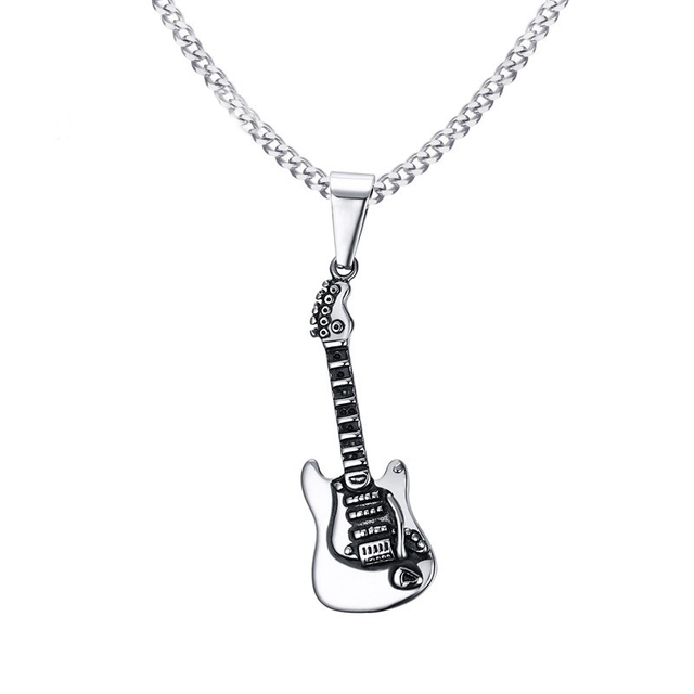 Rock Musical Instruments Stainless Steel Men S Guitar Pendants
