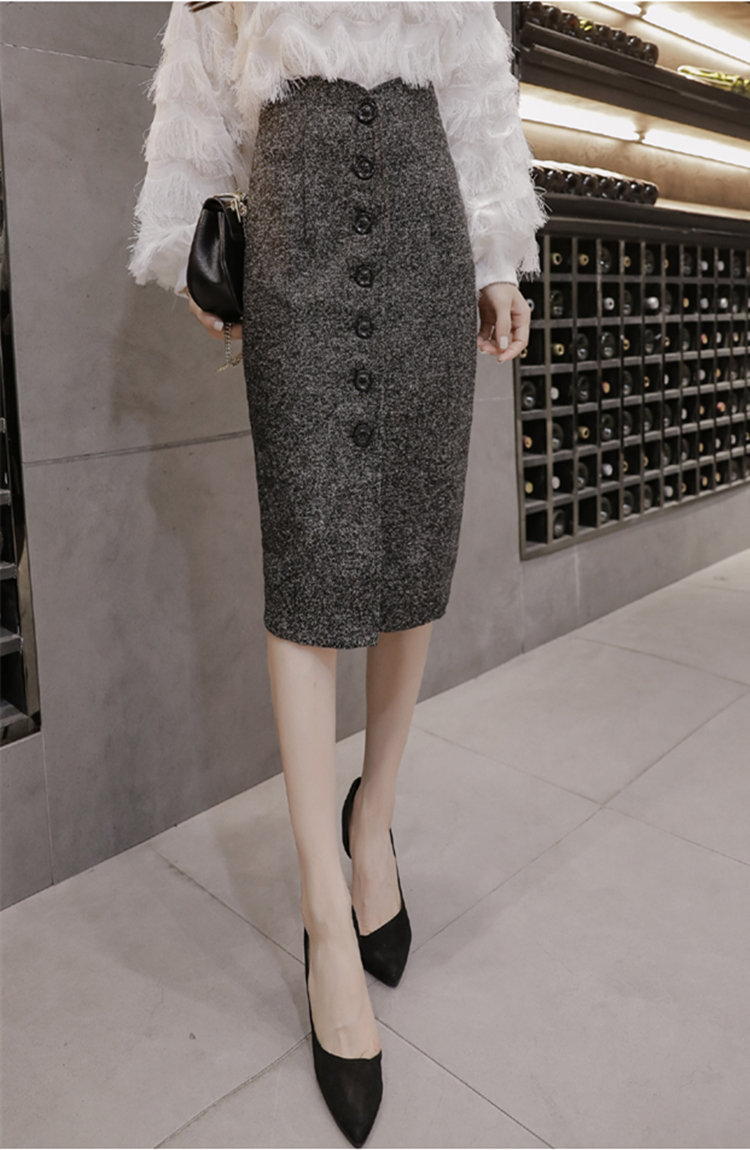 Neophil High Waist Woolen Button Pencil Midi Skirts Office Ladies Office Elegant Grey 19 Winter Wool Wrap Skirts Faldas S1738 14