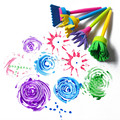 4 шт./лот творческий цветок марка губка кисть художественные принадлежности для детей DIY инструменты drawaing игрушки