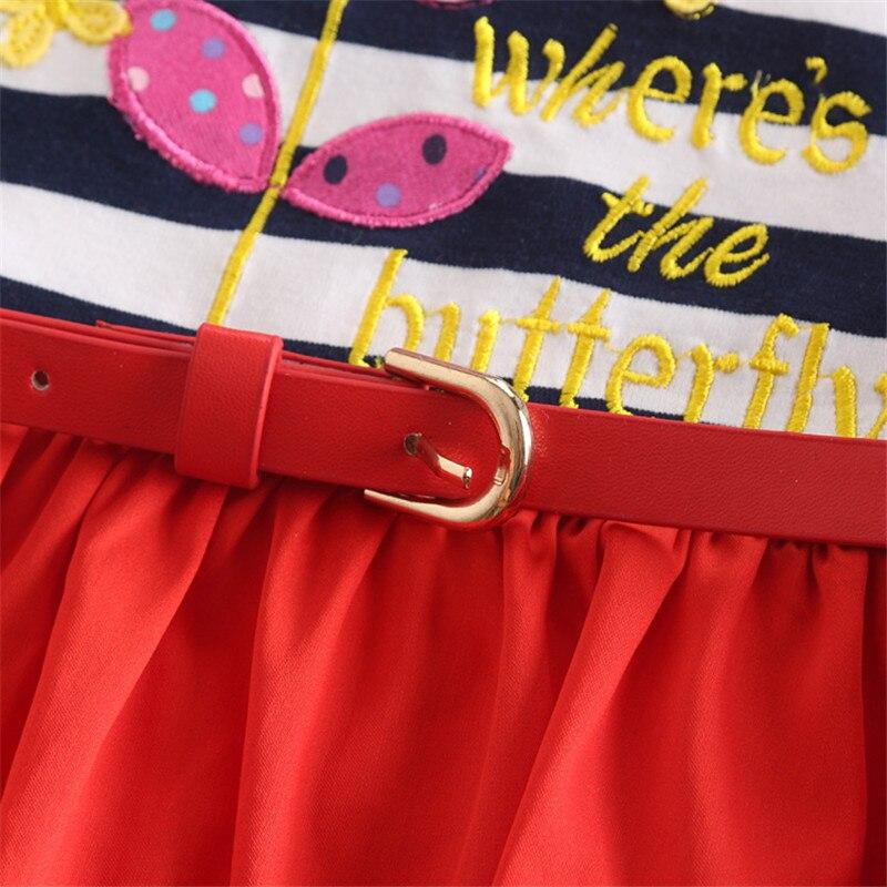 NOVATX kinderen meisje jurken gestreept met riem katoenen kinderen - Kinderkleding - Foto 4