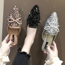 Women Slippers Crystal Bling Mules Slippers Female Mules Fashion Bow Knot Shoes Woman Pointed Toe Elegant Slipper Casual Shoes