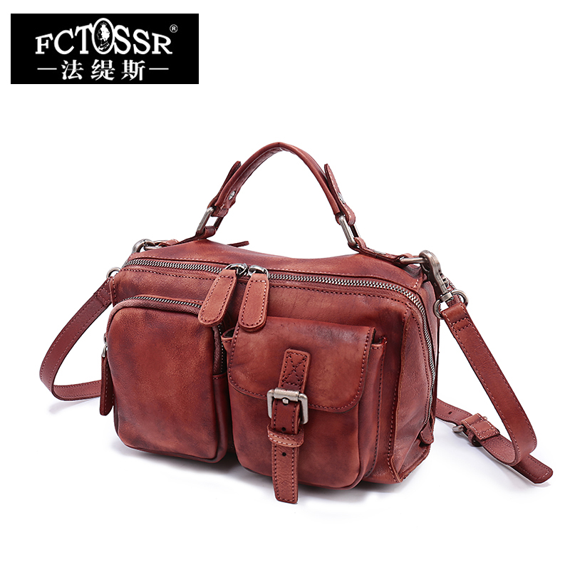 FCTOSSR 2018 New Retro Genuine Leather Women Handbag First Layer of Leather Shoulder Bag handmade Leather Diagonal Female Bags цена