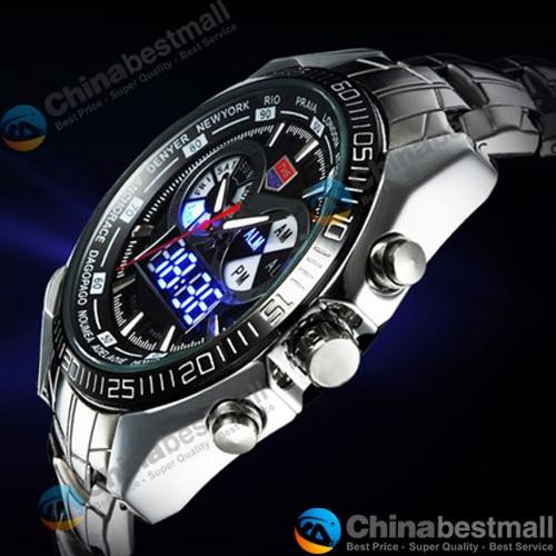 TVG Merk Luxe Rvs Klok Digitale Sport LED Horloges Mannen 30 M Dual - Herenhorloges - Foto 5