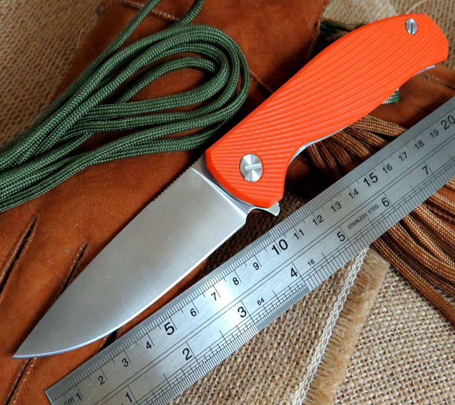 Good Looking Bearing font b knife b font 9CR18MOV blade Orange Texture G10 Handle font b