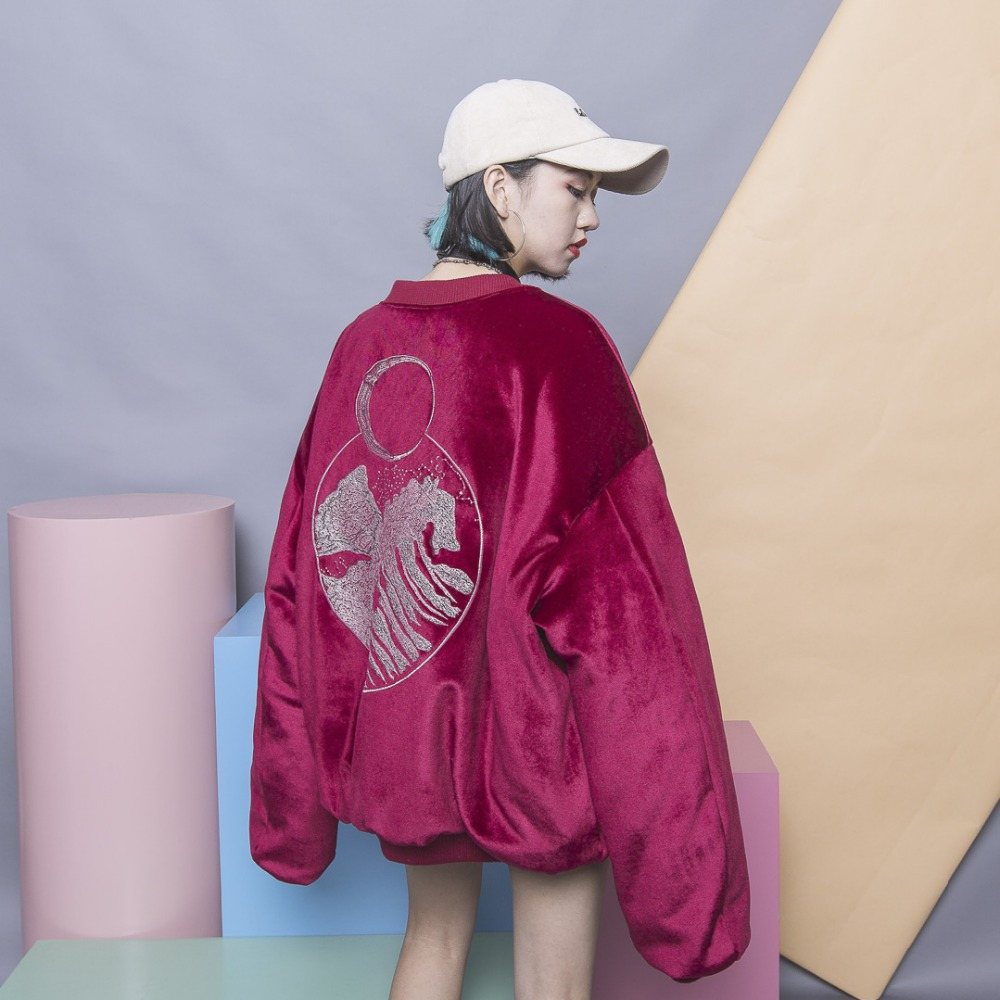 Fashion street HARAJUKU silveryarn embroidery abstract loose plus size gold velvet thickening wadded outwear cotton padded