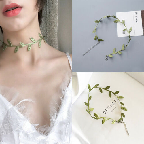 US Stock Summer Green Vines Leaf Choker Necklace Women Clavicle Chain Pendant Necklace Couple Cameo Drop Accessories