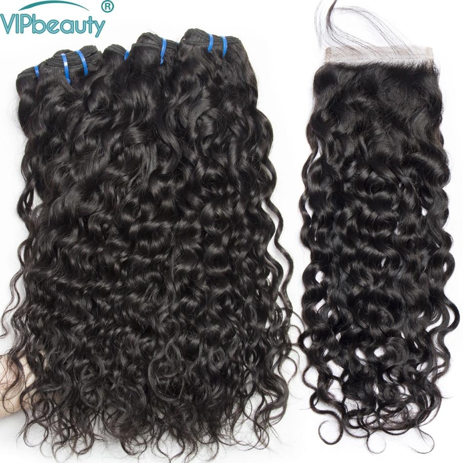 human hair 3 bundles with lace closure VIP beauty water wave bundles with closure Malaysian hair