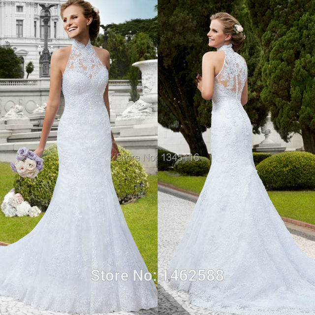 High Neck Lace Covered White fishtail Wedding Dress Mermaid 2016 ...