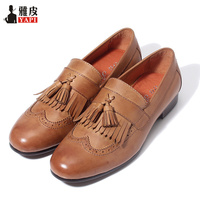 Retro Mens Genuine Leather Tassel Brogue Shoes Man Casual Fringe Wing Tips Oxfords Driving Loafers