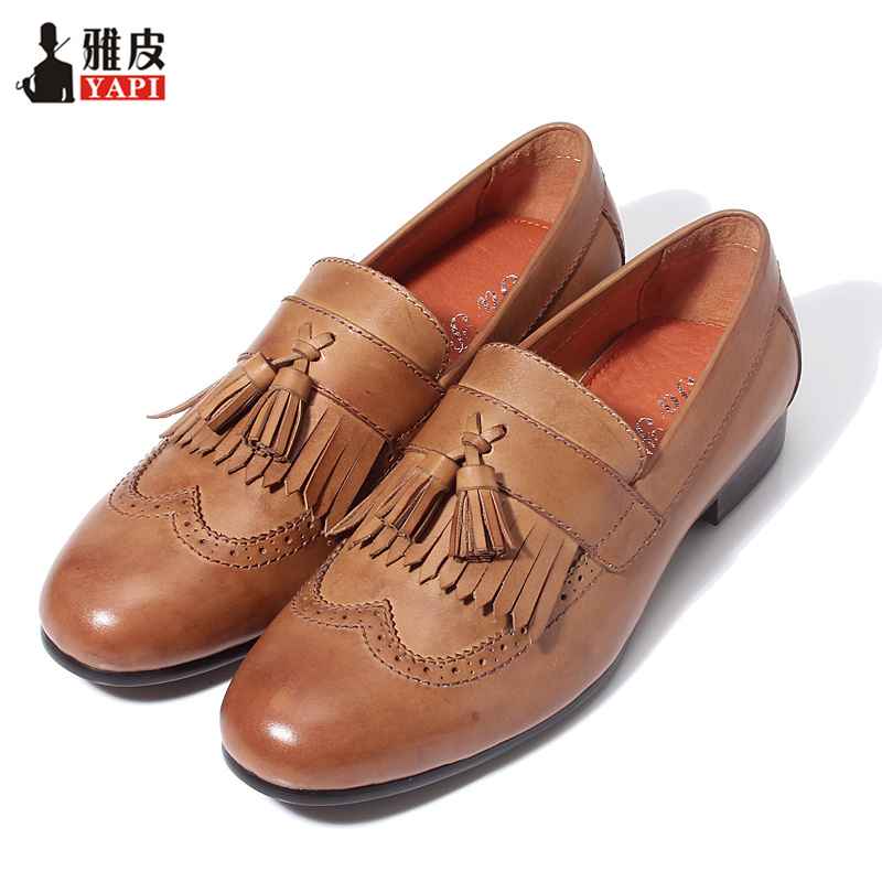 Retro Mens Genuine Leather Tassel Brogue Shoes Man Casual Fringe Wing Tips Oxfords Driving Loafers retro tiny bell tassel anklet for women
