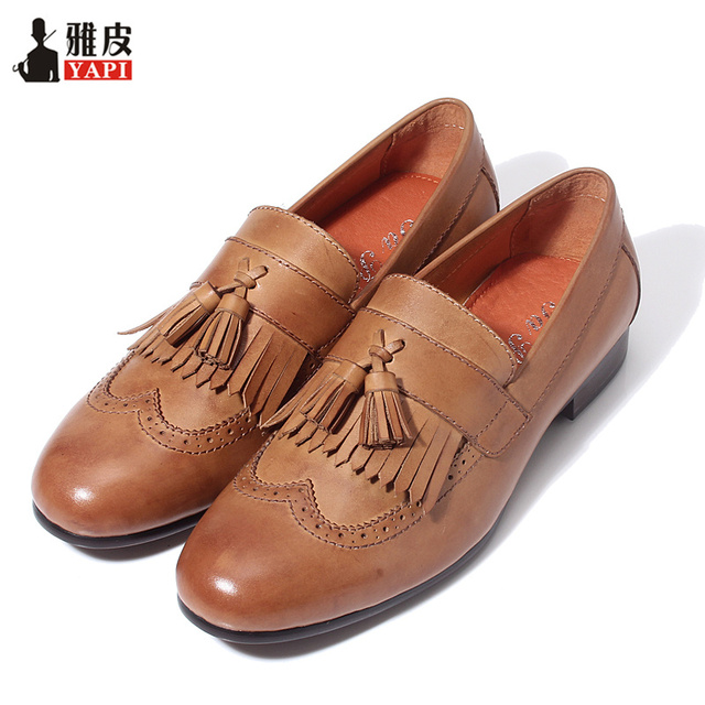 c1eb4f43197452 Retro Mens Genuine Leather Tassel Brogue Shoes Man Casual Fringe Wing Tips  Oxfords Driving Loafers