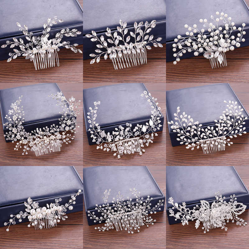 Wedding Hair Accessories Hair Combs Pearl Bridal's Tiaras Rhinestone Women Accessories Floral and Pearl Hair Comb Head Ornaments