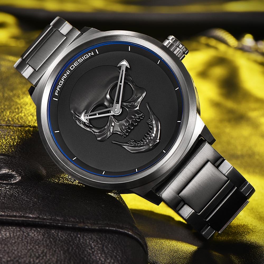 PAGANI DESIGN Punk 3D kaukolės asmenybė Retro mados verslo kvarco - Vyriški laikrodžiai - Nuotrauka 4