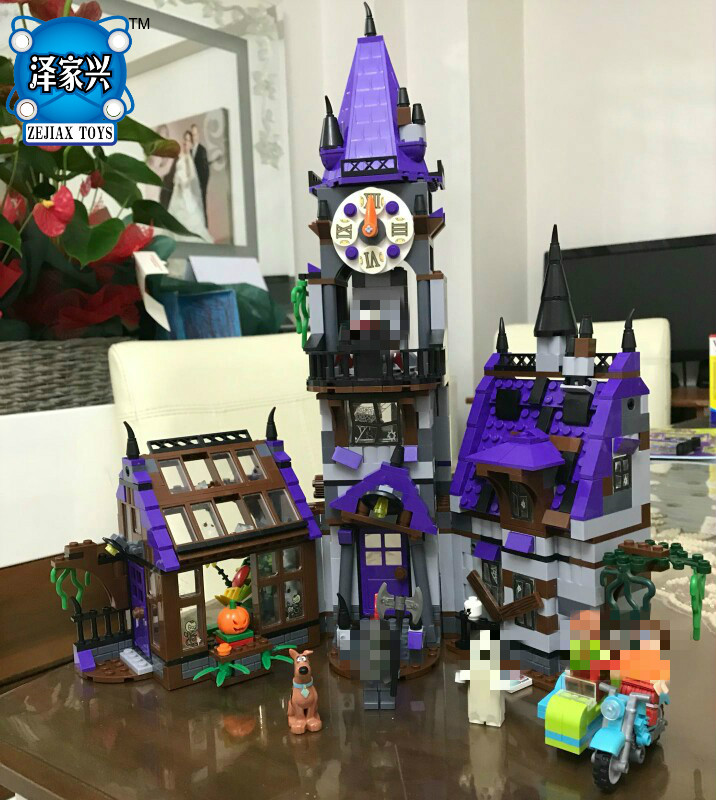 860pcs Scooby Doo Mysterious Ghost House Building Block Toys Compatible Lepins Figures Blocks for Children Christmas Gift Bela 10432 scooby doo mysterious ghost house mode building blocks educational toys 75904 for children christmas gift legoingse toys