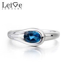 Leige Jewelry Wedding Ring London Blue Topaz Ring November Birthstone Oval Cut Blue Gems 925 Sterling Silver Fine Jewelry Gifts