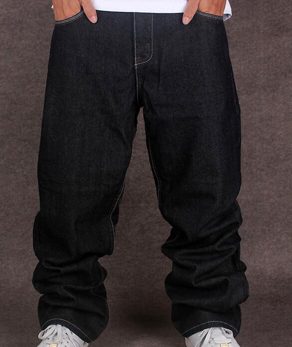 купить Black Baggy Jeans Men Hip Hop Streetwear Skateboarder Denim Pants Loose Fit Plus Size Hiphop Size 42 Size 44 Free Shipping дешево