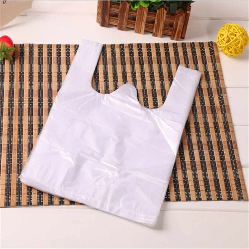 100pcs/lot 15*19cm Transparent Bags Shopping Bag Supermarket Plastic Bags With Handle Food Packaging Shopping Bags