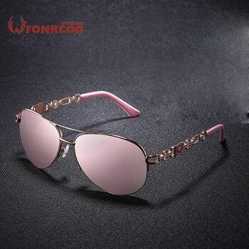 25a87647e9 2018 FONHCOO gafas de sol mujer piloto Classic gafas Vintage Metal  conductor marca diseñador Oculos de sol UV400 rayos calientes