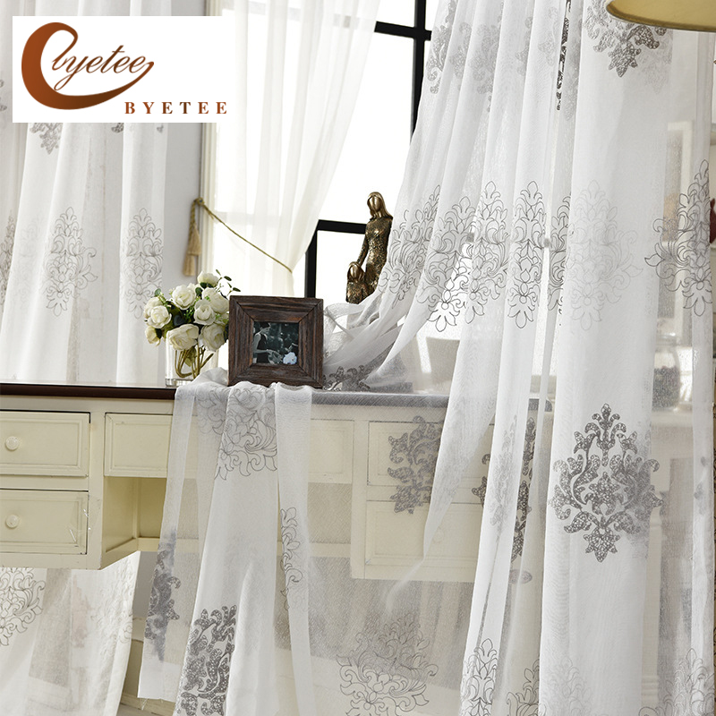 [byetee] High Quality Linen Embroidered <font><b>Curtain</b></font> Bedroom Window Tulle Gauze Grey Voile <font><b>Curtains</b></font> For Living Room <font><b>Curtain</b></font> Finished