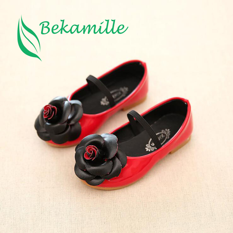 Bekamille New 2018 Girls Kids Leather Shoes Autumn Children Casual Floral Single Shoes Girl PU Flower Sneaker Size 21-36 S1099