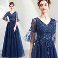 2020 New Design A line V neck Navy Blue Long Evening Dresses Tulle Lace Applique Beaded Elegant Party Formal Dress JK34