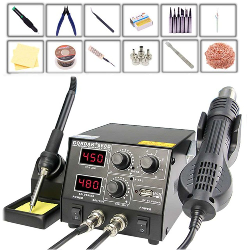 GORDAK 868D Intelligent 3 In 1 Anti-static Hot Air Dual Digital Hot Air Gun Soldering Station USB Charging Mobile Phone
