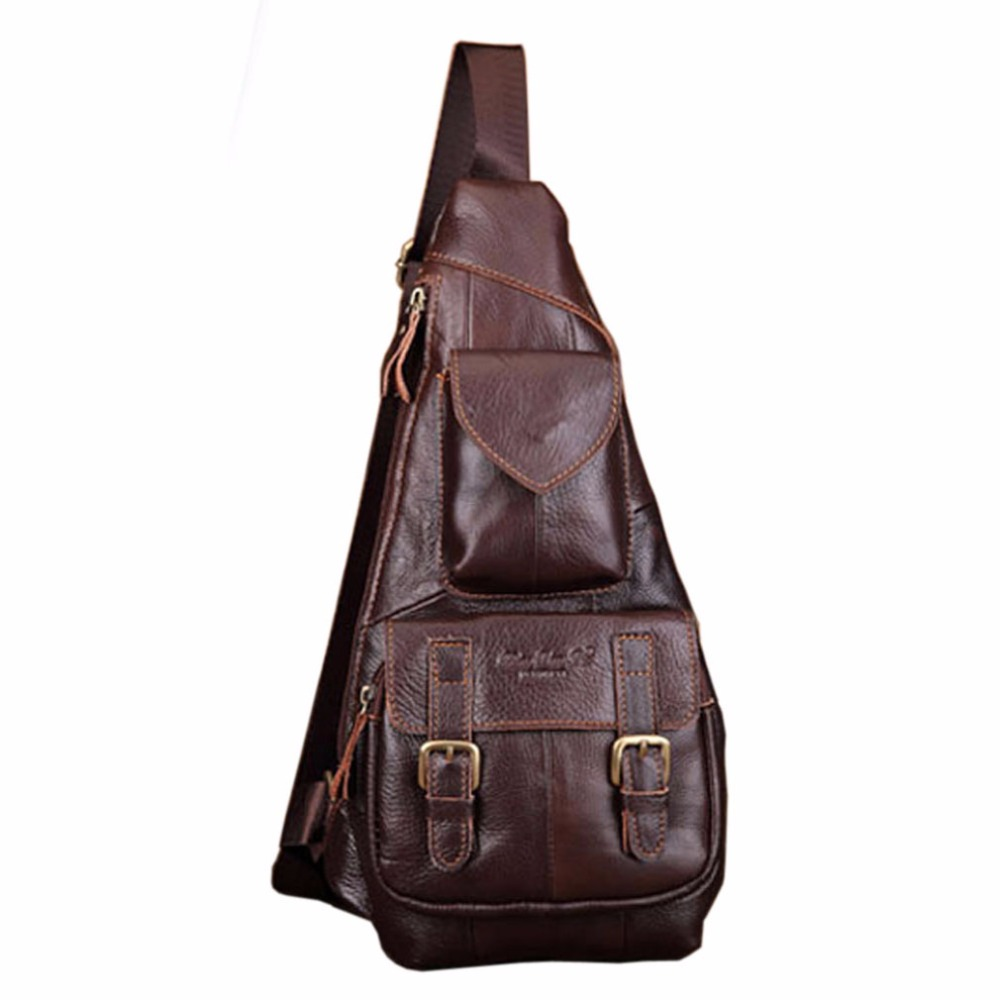 Pánská pravá kůže Vintage Sling Hrudní taška Páska Spona - Kabelky
