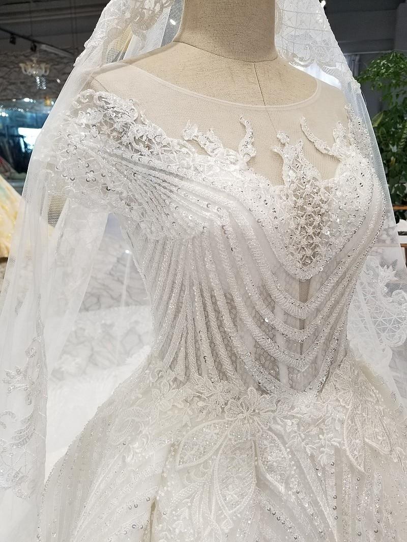 Image 4 - LS32009 elegant ivory wedding dress o neck short sleeve lace up back ball gown bridal wedding gown with veil china wholesaleWedding Dresses   -