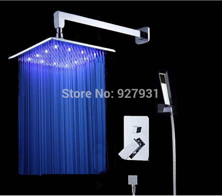 Wholesale Retail LED Color Changing Shower Faucet 8 Conceal Install Rainfall Shower Mixer Tap