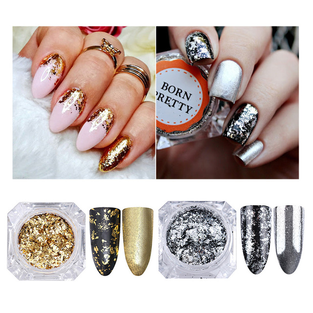 Silver Gold Flakes Nail Glitter Sequins Chameleon Bling Mirror Glitters Powder Paillettes Diy Art
