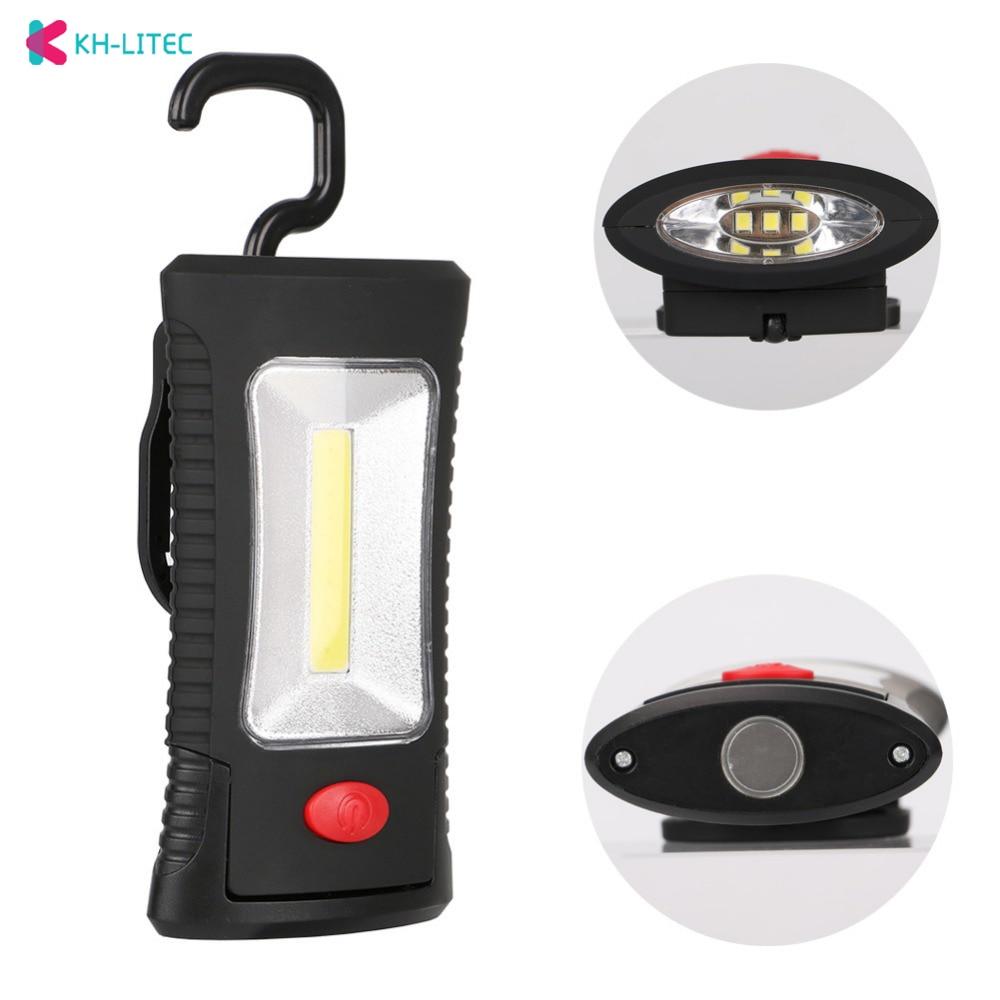 KHLITEC Multifunctional Portable COB LED Magnetic Folding Hook Working Inspection Light Flashlight Torch Lanterna Lamp USE 3xAAA