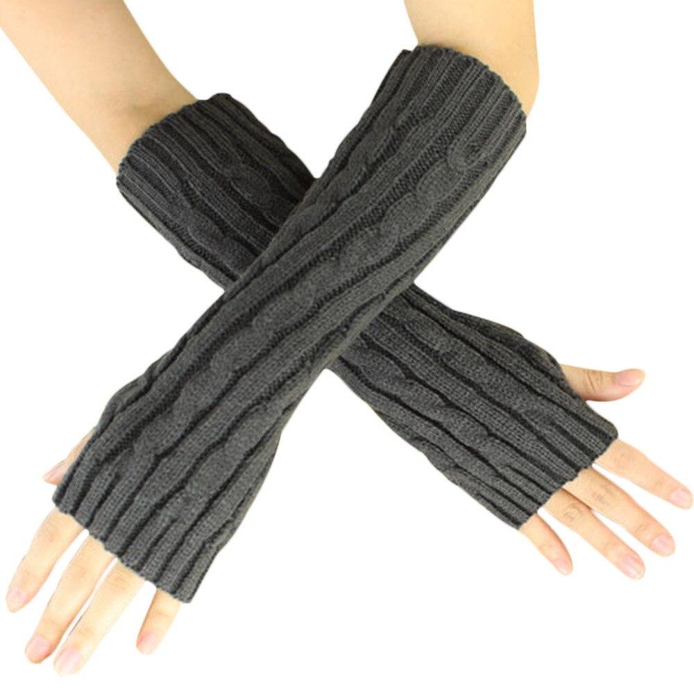 Women hemp flowers knitted gloves winter ladies girl long cashmere fingerless gloves arm sleeve mittens arm warmers #ve