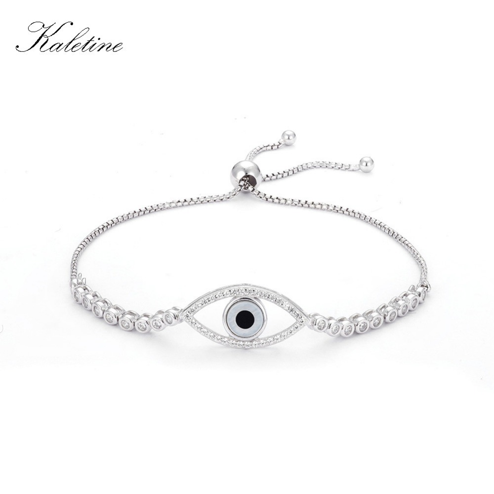 Luxury 925 Sterling Silver Woman Bracelets CZ Crystal Charms Bracelet Evil Eye Hamsa Beads Bracelet for Women Jewelry KLTB022 silver colored plated sterling silver cubic zirconia cz hamsa hand evil eye pendant 16 2 extender n1312 01