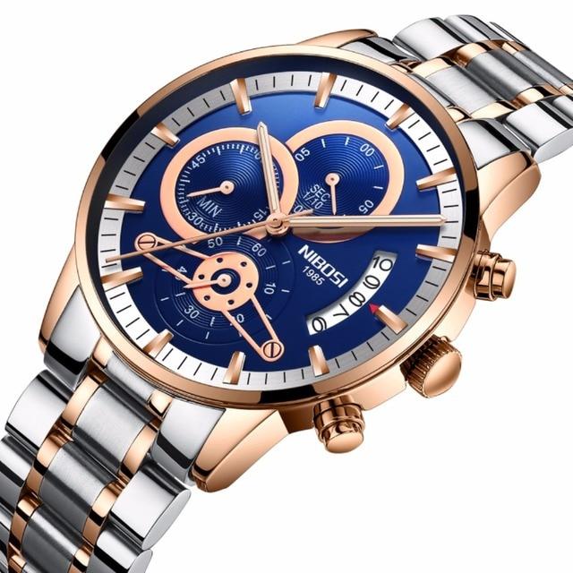 be39097c1a6 NIBOSI Marca de Luxo Da Moda Relógios de Quartzo Homens de Aço Inoxidável À Prova  D