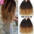 8A Brasileiro Ombre Cabelo Virgem Encaracolado Afro Crespo Onda Sexy fórmula Cabelo 3 Pacotes Brasileira Crespo Encaracolado Ombre Cabelo Virgem cabelo