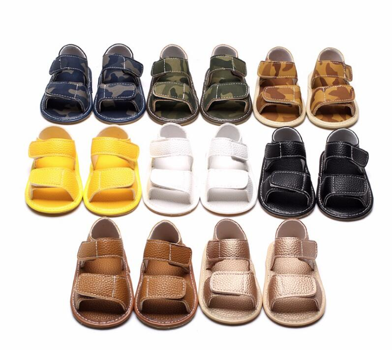 New Summer ArmyGreen Infant Pu Leather Baby Moccasins Shoes Rubber Sole Newborn Toddler Girls Boys Sandals 0-24 M