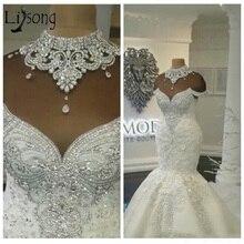 Luxury Dubai Arabic Mermaid Wedding Dresses Beading Crystals Court Train Plus Size Wedding Bridal Gowns Custom Vestido de noiva