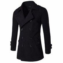 Зима Мужчины Куртки Пальто Мода Двойной Брестед Мужчины Досуг Чистый Цвет Пальто И Пиджаки Черный Серый Новый