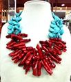 Woman Gift Water Drop Turquoise Natural Red Coral Strip Necklace Exaggerated  2 Row Free Shipping Fashion Jewelry